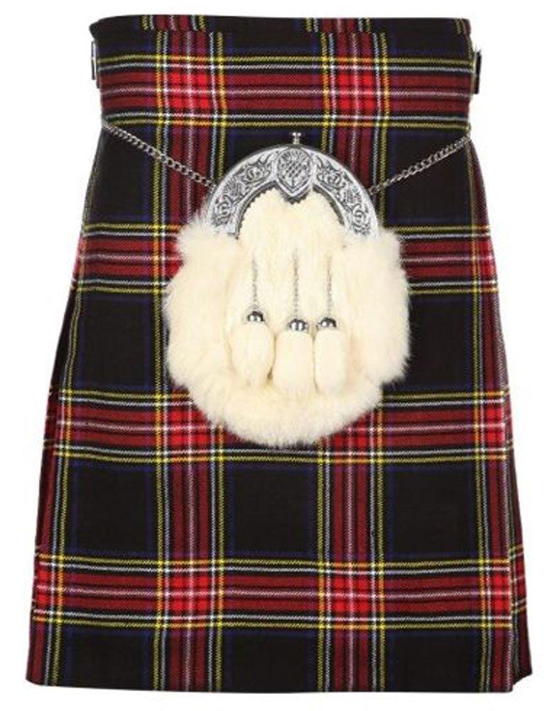 Scottish Black Stewart 8 Yard Kilt For Men 32 Waist Size Traditional Tartan Kilt Skirts