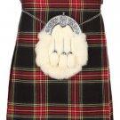Scottish Black Stewart 8 Yard Kilt For Men 56 Waist Size Traditional Tartan Kilt Skirts