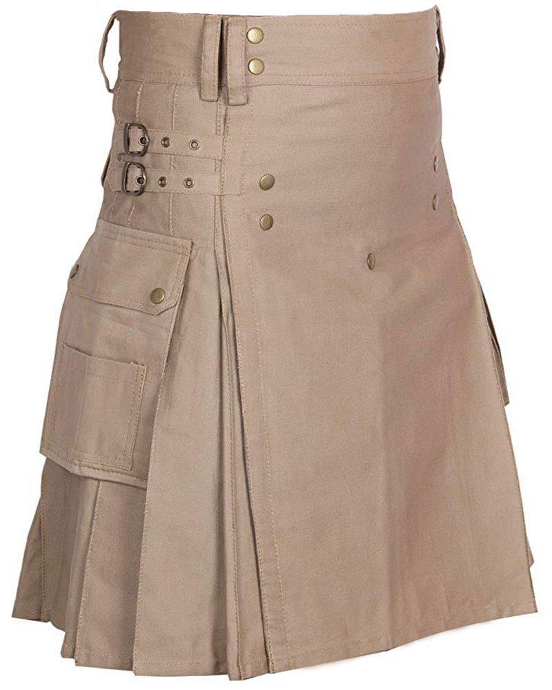 Handmade Custom Size Men's Khaki Utility Kilt 42 Size Cotton Kilt with Cargo Pockets