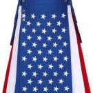 Men's hybrid cotton American flag stylish kilts 46 Waist Size Hybrid Kilt with Side Cargo Pockets