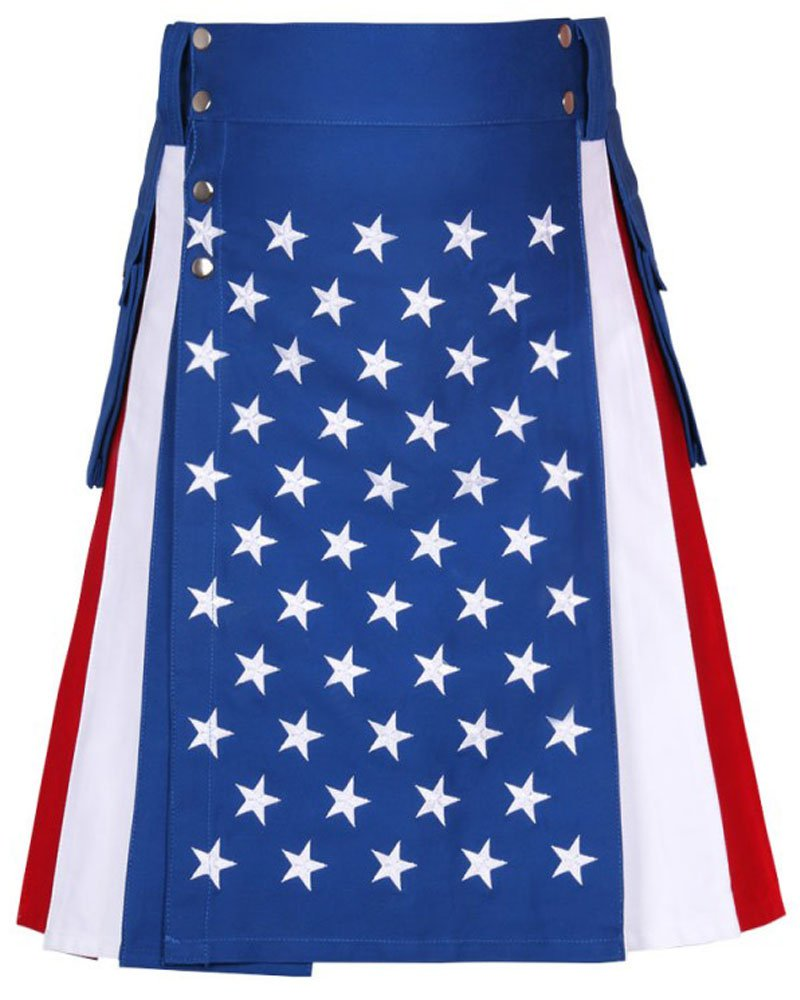 USA / Stars and Stripes / American Flag Kilt 42 Waist Size Hybrid Kilt with Side Cargo Pockets