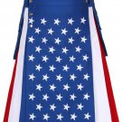 USA / Stars and Stripes / American Flag Kilt 42 Waist Size Hybrid Kilt with Side Cargo Pockets