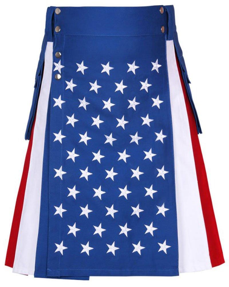 USA / Stars and Stripes / American Flag Kilt 50 Waist Size Hybrid Kilt with Side Cargo Pockets