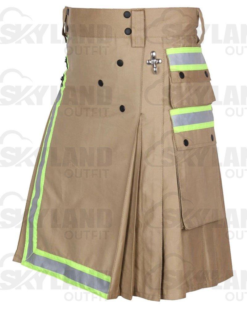 Tactical Duty Kilt 28 Waist Size Fireman Utility Khaki Cotton Kilt with High Visible Reflector Tape
