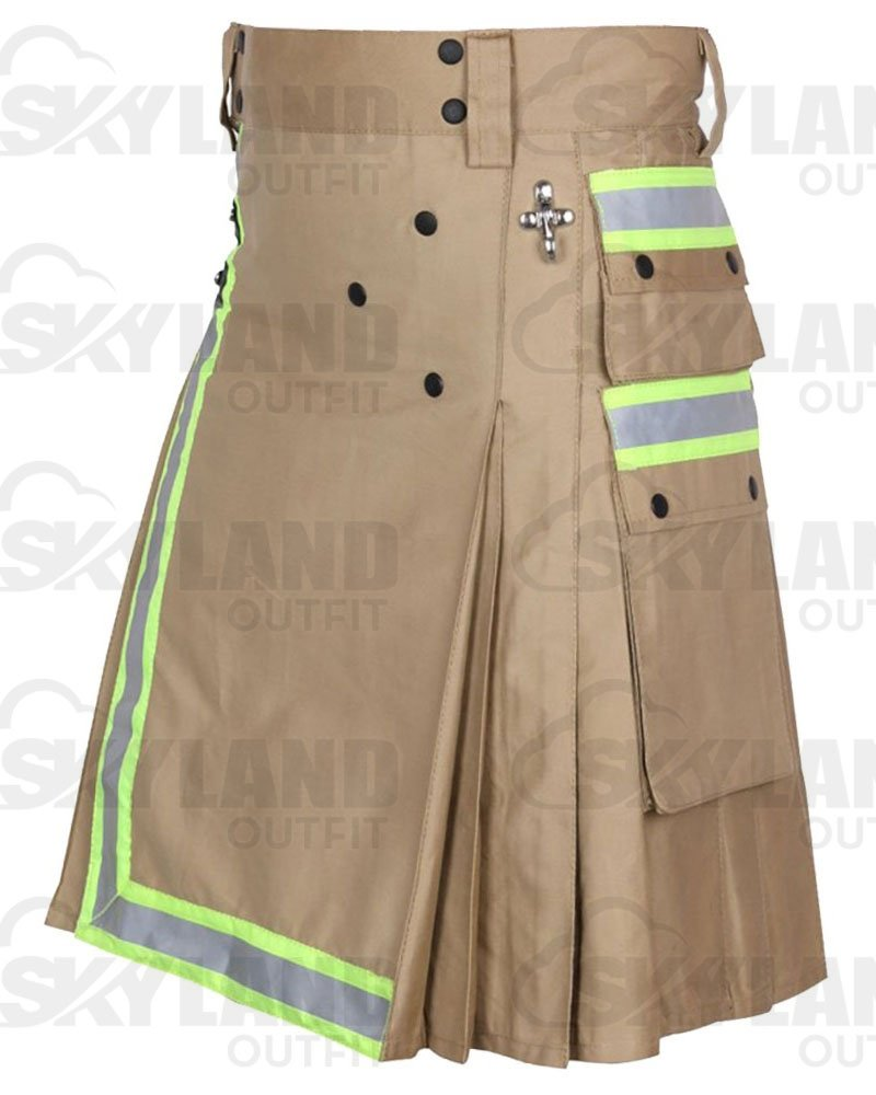 Tactical Duty Kilt 42 Waist Size Fireman Utility Khaki Cotton Kilt with High Visible Reflector Tape