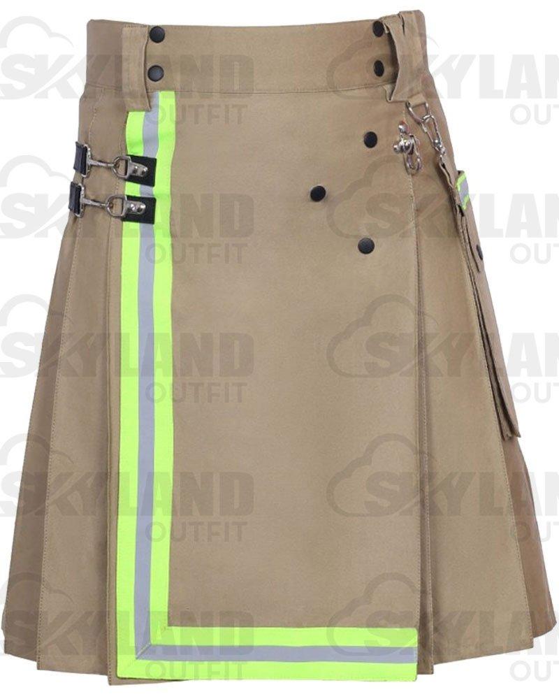 Khaki Fireman Utility Kilt for Men | 100% Raised Khaki Cotton 26 Waist Size with Reflector Tape