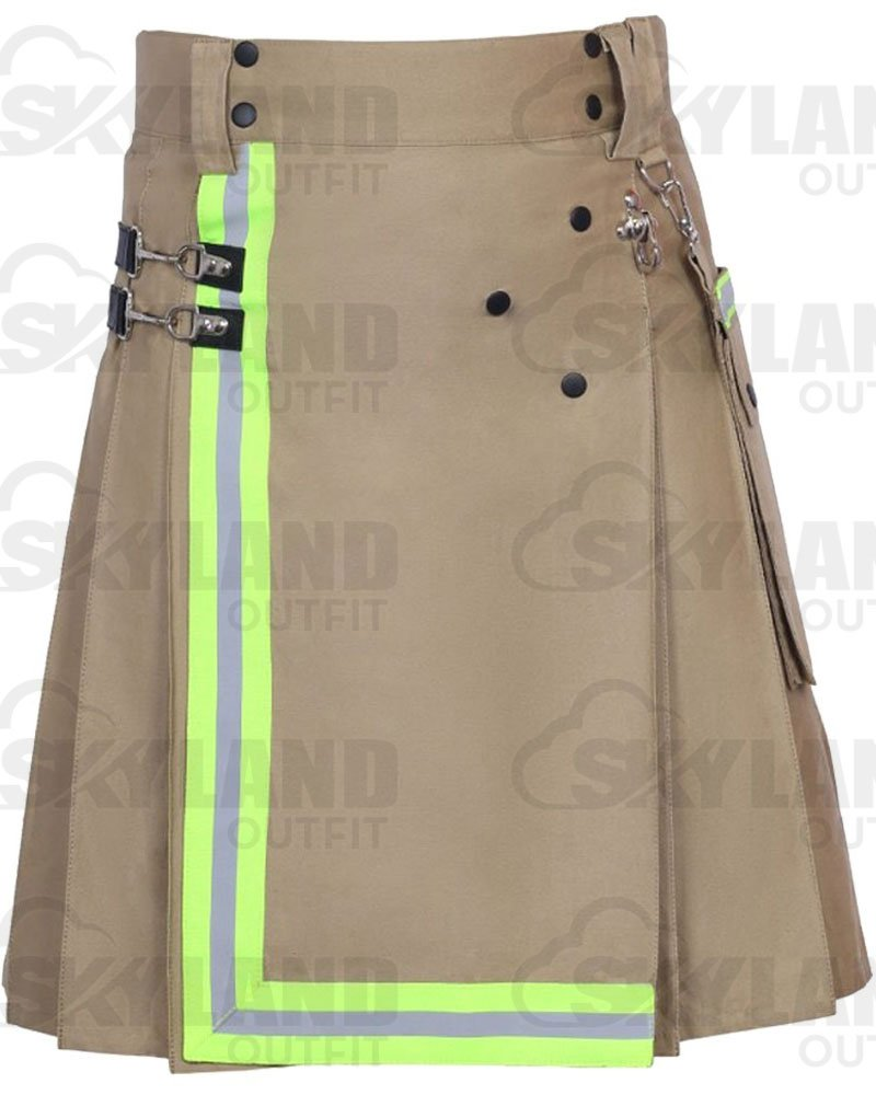 Khaki Fireman Utility Kilt for Men | 100% Raised Khaki Cotton 42 Waist Size with Reflector Tape