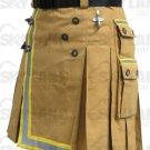 Fireman Khaki Cotton Utility Kilt with Cargo Pockets 42 Waist Size with Reflector Tape