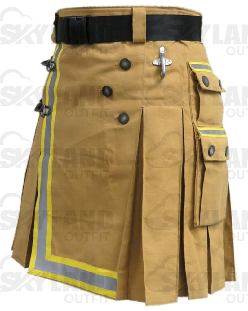 Fireman Khaki Cotton Utility Kilt with Cargo Pockets 48 Waist Size with Reflector Tape