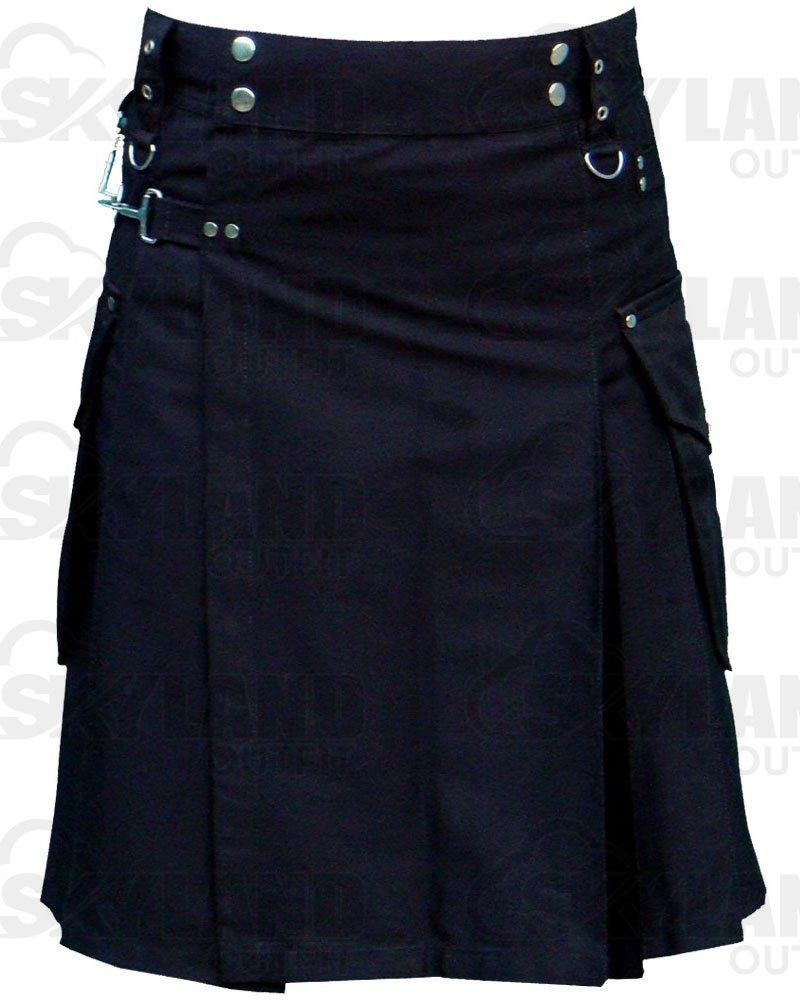 Active Men Utility Cargo Pocket kilt 28 Waist Size Black Cotton Kilt with Cargo Pockets