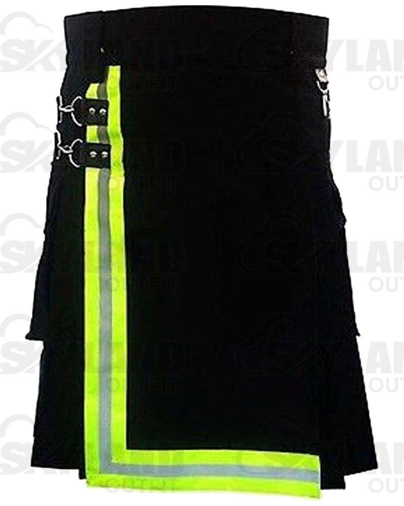 Black Firefighter Kilt for Men 42 Waist Size Handmade High Visible Police Reflector 100% Cotton Kilt