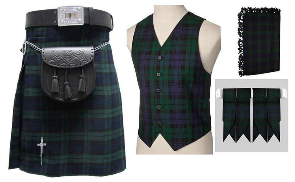 8 In 1 Deal 5 Pcs Traditional Black Watch Tartan Outfit Kilt Deal   Made To Measure 30 Waist Size