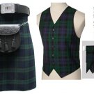 8 In 1 Deal 5 Pcs Traditional Black Watch Tartan Outfit Kilt Deal | Made To Measure 34 Waist Size