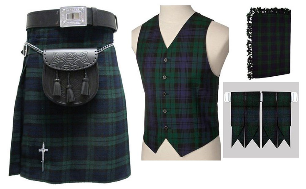 8 In 1 Deal 5 Pcs Traditional Black Watch Tartan Outfit Kilt Deal | Made To Measure 42 Waist Size