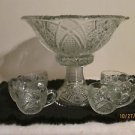 MCKEE PUNCH BOWL CONCORD PATTERN COMPLETE WITH 6 CUPS