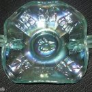 CARNIVAL GLASS BUTTERFLY BUTTERFLIES GREEN CANDY BOWL DISH COMPOTE FENTON