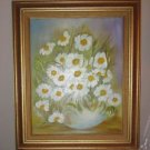 "ARTIST PRINTS OIL ON CANVAS DAISIES 16"" X 20"" FRAMED"