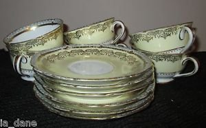 NORITAKE HARCOURT JAPAN  CUP & SAUCER WITH ABUNDANT GOLD TRIM 6 CUPS & SAUCERS