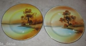 "NORITAKE BREAD & BUTTER ""TREE IN THE MEADOW"" PLATES TWO PLATES"