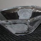OCTAGON TAPERED CLEAR CRYSTAL GLASS BOWL CANDY DISH ROSES