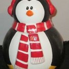 COOKIE CANDY JAR  WINTER TIME PENQUIN CERAMIC