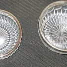 TWO (2) W GERMANY CRYSTAL DISHES BOWLS DIADEM BLEIKRISTALL SILVER COLOR TOP EDGE
