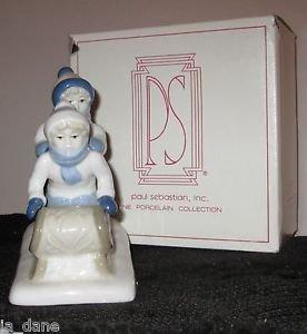 CHILDREN BOYS ON SLED 1992 PAUL SEBASTIAN BLUE & WHITE PORCELAIN ORIGINAL BOX