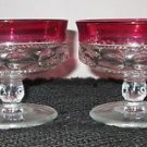 PAIR (2) RUBY RED CRYSTAL KINGS CROWN THUMBPRINT SHERBERT GOBLET