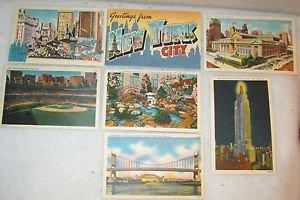 "7 POSTCARDS NEW YORK CITY, NY 1940 ERA UNUSED 4"" X 5 3/4"""