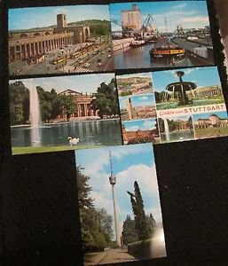 5 STUTTGART, GERMANY POSTCARDS ERA 1950/60 UNUSED