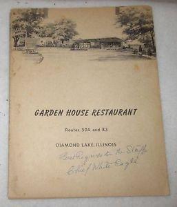 GARDEN HOUSE RESTAURANT MENU DIAMOND LAKE, IL SIGNED CHIEF WHITE EAGLE