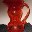 CRACKLE GLASS PITCHER RED/ORANGE