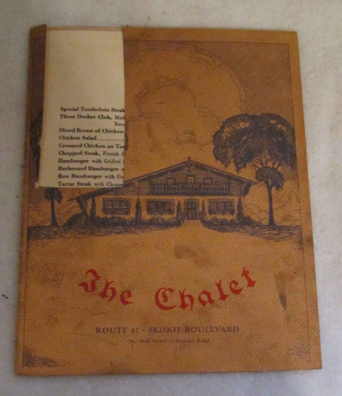 THE CHALET RESTAURANT MENU ROUTE 41 SKOKIE BLVD CHICAGO 1943