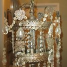 ANTIQUE 4 LIGHT DOUBLE TIERED CHANDELIER & PRISMS