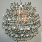 ANTIQUE CANDLE WALL SCONCES W/CRYSTAL PRISMS 3 CANDLE INSERT