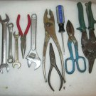 TOOL LOT 10 pieces ,snips, pliers needle nose, crescent box & open end wrench