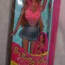 """BARBIE BUTTERFLY ART     12"""" TALL DOLL WITH SHEETS OF DECORATIONS"""