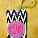Monogrammed Luggage Tag Black Chevron Custom NEW