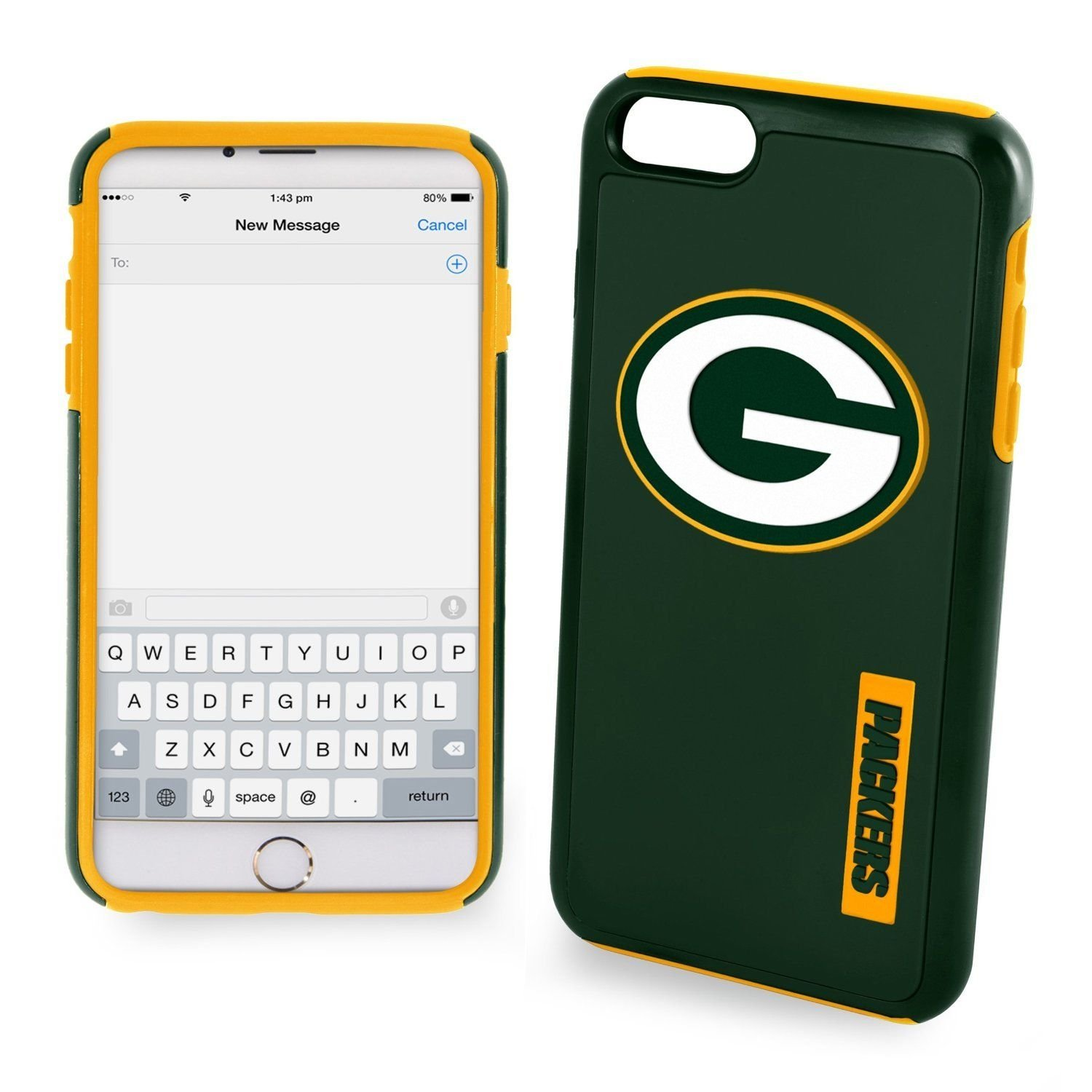 """GREENBAY PACKERS  iPHONE 6+ 6S+ 5.5"""" DUAL LAYERS HYBRID HARD SOFT CASE"""