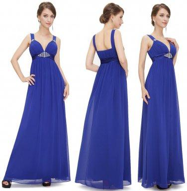 Sexy Deep V-neck Chiffon Elegant Long Evening Party Dresses  Free shipping