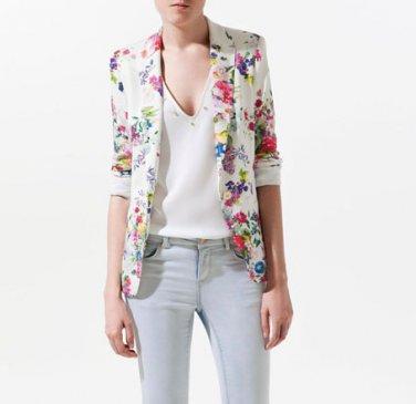 fashion flroal printing slim suit suit button women white blazer coat free shipping