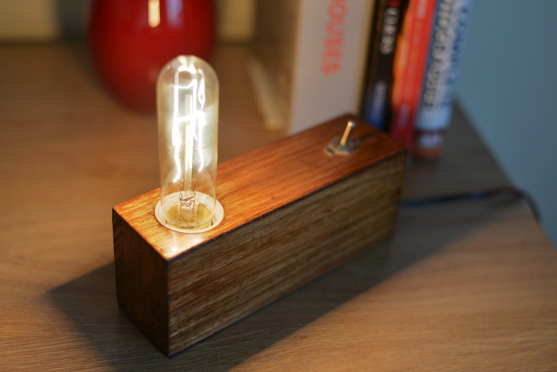 Handmade Edison Wood Lamp,Table lamp, Desk lamp, Wooden Lamp,retro lamp