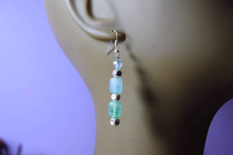 Frosted light blue earrings