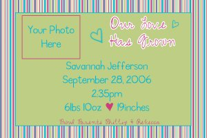 Birth Announcement Sample 2