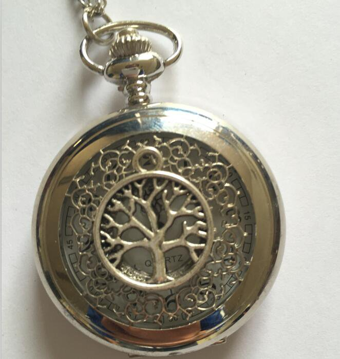 Personalized Quartz Silver Snake Pocket Watch Necklace Rome digital dial Steam Punk
