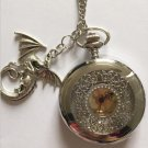 Personalized Quartz Silver Dragon Pocket Watch Necklace Steam Punk