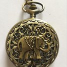 Personalized Quartz Bronze Elephant Pocket Watch Necklace Steam Punk