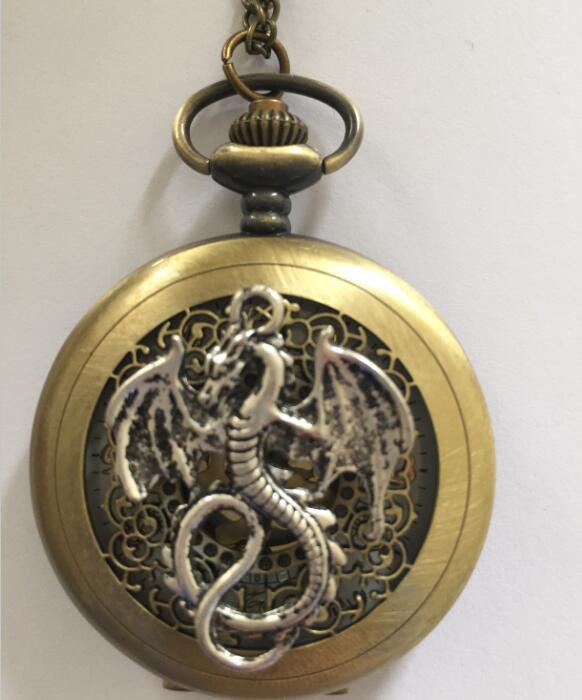 Personalized Quartz Silver Dragon Pocket Watch Necklace Spider web Steam Punk
