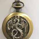 Personalized Quartz Silver Dragon Pocket Watch Necklace Spider web Steam Punk