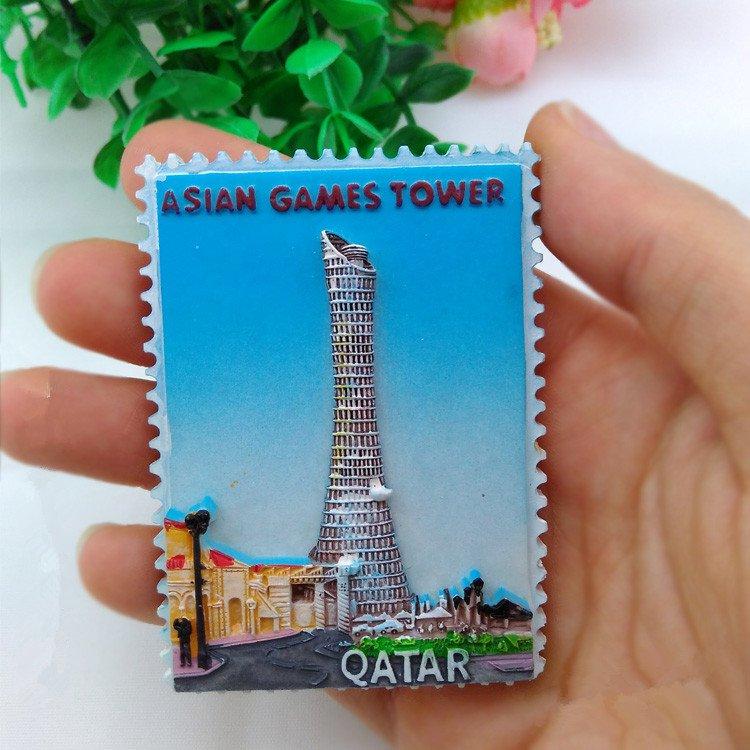 3D Resin World Tourism Souvenir Fridge Magnet - Qatar 2 Pcs